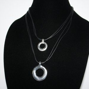 Black and silver layered necklace